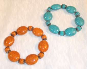 Beaded bracelets, stretch, turquiose or orange, 7 or 8""