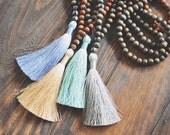 Long Wood Beaded Tassel Necklace // Silk Tassel // Wood Beads // Boho Chic // Tassel Necklace // Summer Accessories