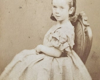 Original Antique CDV Photograph Pretty Little Miss