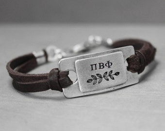 Pi Beta Phi Bracelet, Sorority Bracelet, Sorority Jewelry, Pi Beta Phi Jewelry, Leather Bracelet, Sister Gift, Hand Stamped Jewelry