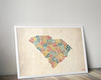 South Carolina by County - Typography Print