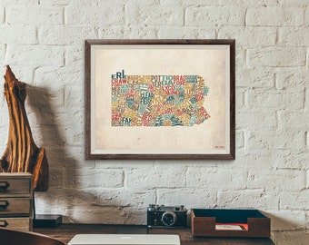 Pennsylvania by County - Typography Print