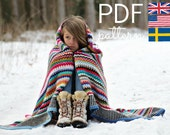 Crochet Pattern - Scrappy Happy V-stitch Blanket - US, UK and Swedish terms - PDF file