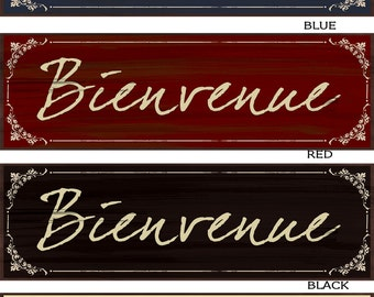 Bienvenue French Welcome  wood wall decor available in four colors