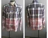 Upcycled Clothing, Dip Dyed Royal Blue, Grey and Navy Blue Plaid Shirt, Bleach Dyed, Grunge Shirt, Reclaimed Button-up Shirt, Men's XL
