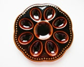 Rustic German Vintage Brown Pottery Divided Egg Plate from 70ies, Glazed Pottery Ceramic Material