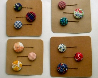 Custom Vintage Fabric Bobby Pins