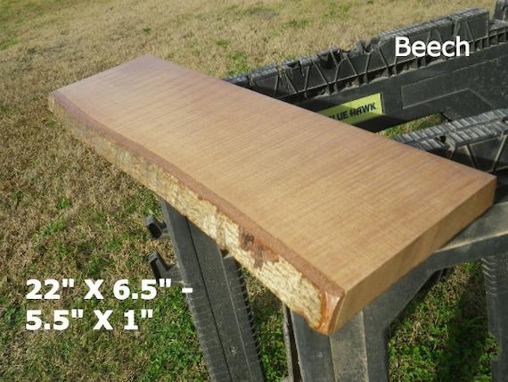 Live edge beech finished wood slab diy floating shelf natural for Finished wood slabs