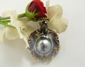 South Seas Blister Pearl Pendant, Wire Wrapped  with 14k gold fill wire.  Free USA shipping, Gift boxed.  (w1461)