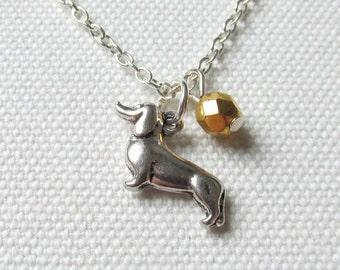 Sausage Dog Necklace Dachshund Wiener Dog Jewelry Gold Czech Glass Bead Cute Kitsch Jewelry