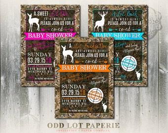 Printable Deer Baby Shower, Doe or Buck,  Camouflage,  Digital Invitation, Hunter or sportsman, Baby Shower Printable Invitation, DIY Print