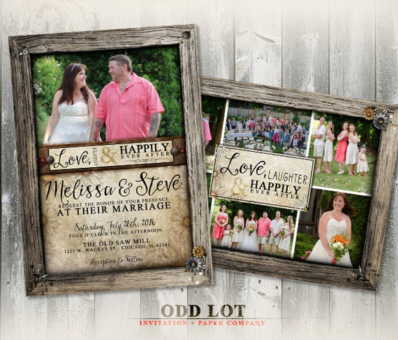 Rustic Wood Frame Wedding Photo Card, Collage Invitation