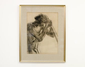 Vintage Listed American Artist William Saltzman Original Signed Framed Charcoal Figurative Drawing - Mid Century
