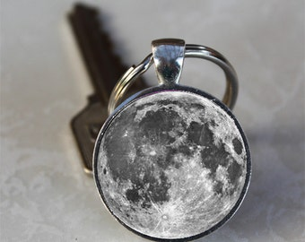 Full Moon Silver Glass Dome Keychain (GDKC0196)