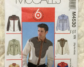 McCall's Mens Western Button up shirt Sewing Pattern 7944 Uncut Size 46-48-50-52-54-56