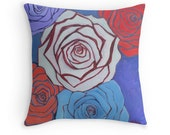 Decorative Pillow Cover Home Decor Pillow Gift for Her Spring Decor White Roses Red Roses Blue Roses Lavender Housewarming Gift Dorm Decor