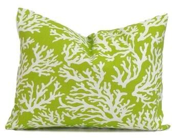 GREEN PILLOW.12x16 or 12x18 inch.Pillow.Pillow Cover.Decorative Pillows.Housewares Lumbar Pillow Cover.Green Coral.Outdoor.Beach Decor.cm