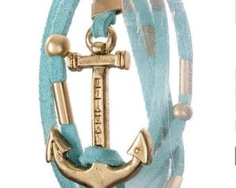 Anchor wrap around bracelet,boho chic jewelry, navy girlfriend wife gift,most  Popular shops bracelets jewelry items,-by PiYOYO 48008