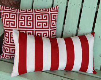 Set of 2 red and white striped towers print outdoor/indoor fabric Premier print, decorative pillow cover-gifts under 40-throw pillow