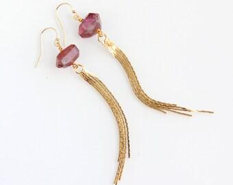 Pink Tourmaline Tassel Earrings, Gold, Long Statement Earrings, Gold Chain, Raspberry