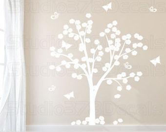 Cherry Blossom Tree Vinyl Wall Decal | Flower and Butterfly Tree | Vinyl Wall Tree Decal | Baby Nursery Decals | Childrens Nursery Wall Art