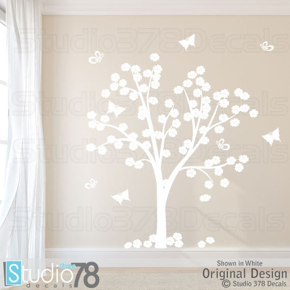 Cherry Blossom Tree Vinyl Wall Decal Flower And Butterfly - Custom vinyl wall decals flowers