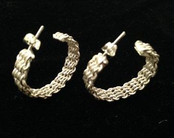 """Vintage 1 1/8"""" Sterling Silver Basket Weave Design WOVEN HOOP EARRINGS Post nos"""