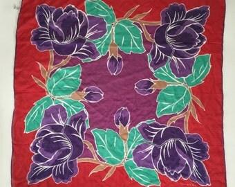 "Oscar de la Renta// 90s// floral// Silk Scarf// 24"" square// Red Purple Green"