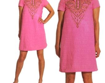 1960s Vintage Indian Ethnic Wood Bead Detail Mod Mini Dress. XS