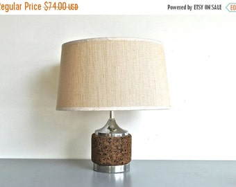 ON SALE Mid Century Chrome and Cork Lamp