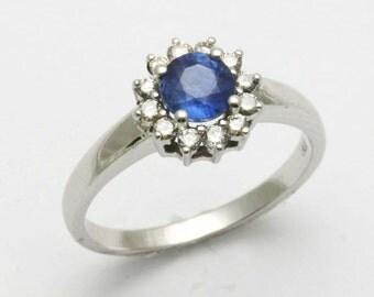 Handmade 18k white gold Blue Sapphire Diamond Flower Halo Ring
