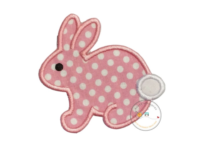 Pink and white polka-dot small bunny iron on applique, DIY iron on embroidered iron on rabbit patch, ready to ship, pre-made bunny