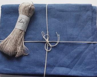 Indigo linen bed sheet. European prewashed and softening linen.