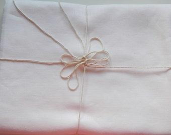 White pure linen flat bed sheet. European  linen.