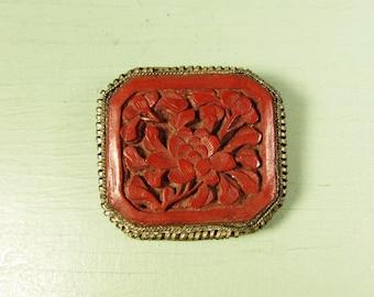 Cinnabar Dress Clip - Vintage Chinese Export Flower Filigree