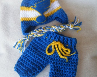 Crocheted Inspired Blues Hockey Hat & Short Pants Set - These Are Made to Order