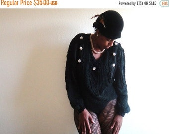 ON SALE Black Pearlescent Flowered Sweater