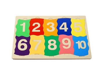 Wooden sensory number puzzle - number puzzle with touch learning