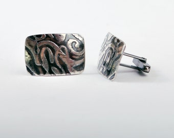 New for Fathers Days- Mens Polished Sterling silver Cufflinks - wiggle pattern