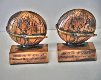 1963 National Helium Corporation Space Age Atomic Rocket Globe Bookends Copper finish Vintage Bookends Space Age