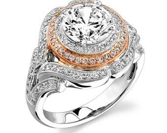 GIA Certified Round Cut Diamond Engagement Ring 4.05 Carat 18k White Gold