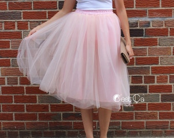 Claire - Blush Pink Tulle Skirt, Soft Tulle Skirt, Tea Length Tulle Skirt, Midi Tutu, Adult Tutu, Bridesmaids Tulle Skirt, Wholesale