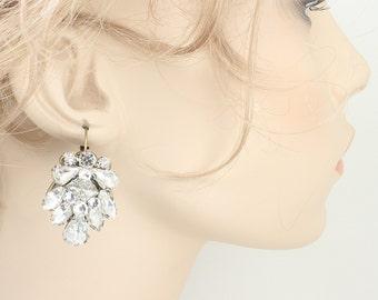 Rhinestone Earrings-Wedding Earrings-Rhinestone Earrings- Art Deco Earrings- Vintage Inspired Earrings-Brass Boheme- Crystal Bridal Earrings
