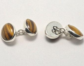 Tiger Eye Regnas Cufflinks Double Mini Ovals Sterling Silver 925