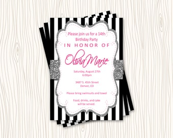 Faux Silver Glitter Black and White Stirpe with Hot PInk Text Birthday Wedding Bridal Baby Shower Party Invitation Card   - You Print