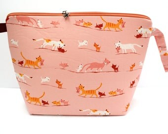 Heather Ross cats Jumbo Clutch zipper bag, Knitting for larger projects, Sweater Bag, Blanket project bag, Jumbo Wedge bag with zipper