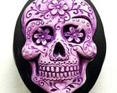 Purple Lavender Sugar Skull Badge REEL retractable ID Card Nurse Key CAMEO Teacher