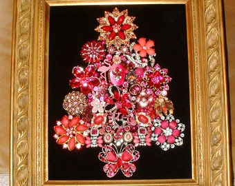 Jewelry Framed Christmas Tree~PRETTY PINK CHRISTMAS~Black Velvet~Pink Flamingo Butterfly Flowers~Breast Cancer Awareness