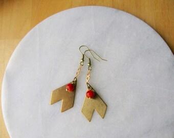 Chevron Golden Dangles - earrings