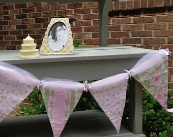 Wedding Garden Theme Pennant Banner / Pink Roses and Tulle